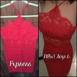 NEW! Beautiful red lace dress from Express sz 6